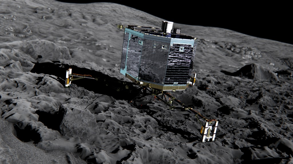 Philae sobre el cometa. Foto European Space Agency
