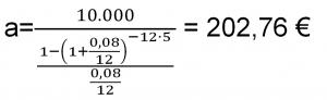 cuota de prestamo calculada