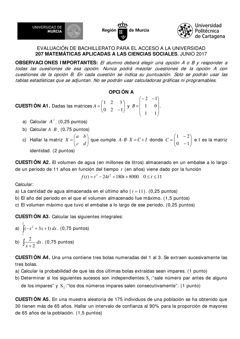 Prueba Ebau Murcia Matemáticas Aplicadas A Las Ciencias Sociales Junio 2017 Angelv