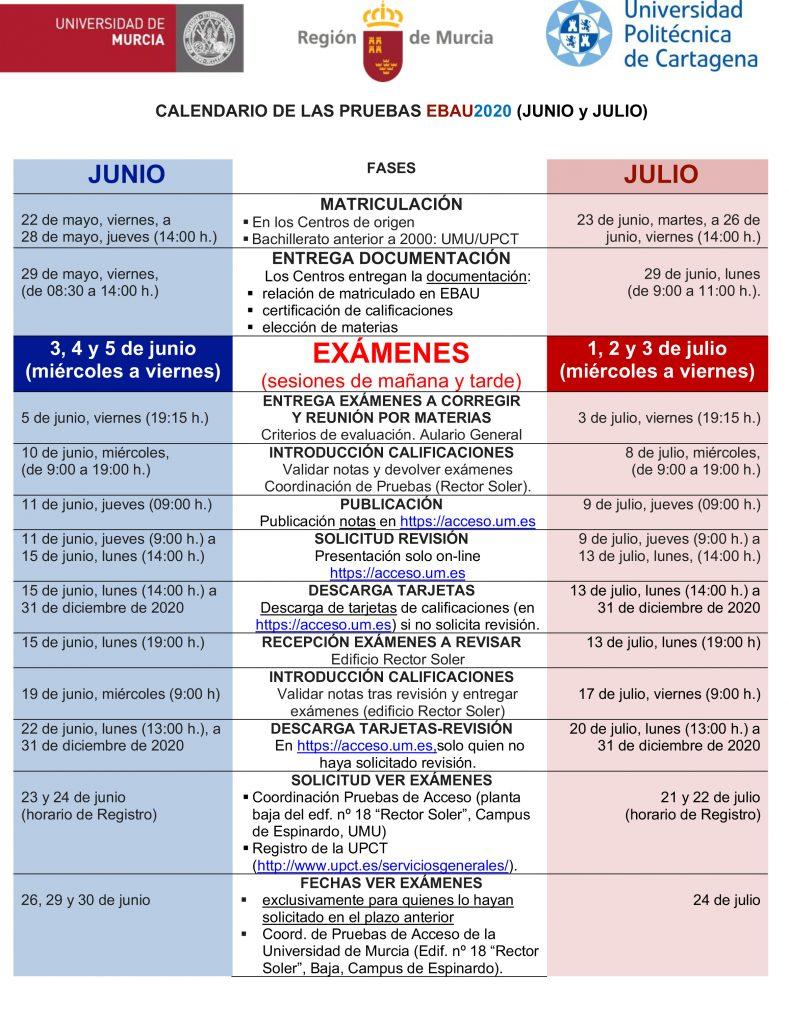 Calendario EBAU Murcia 2020